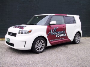 Partial vehicle graphic wrap for Aldermans Toyota