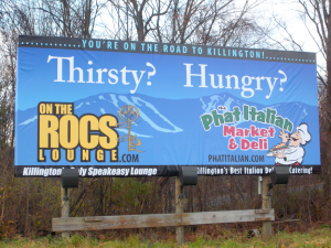 Phat Italian Billboard in New York deisgned and installed by Green Screen Graphics of Rutland