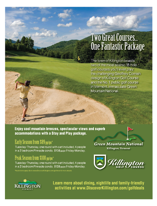 Full Page Golf Ad designed by Green Screen Graphics, Rutland VT