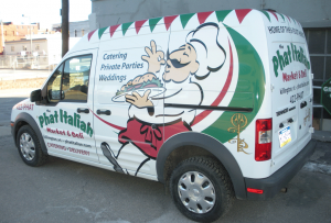Full Van wrap for The Phat Italian, layout and istallation by Green Screen Graphics